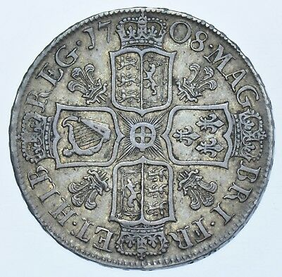 SCARCE 1708 HALFCROWN, PLUMES, BRITISH SILVER COIN FROM ANNE GVF+