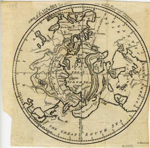 1760 Genuine Antique map North Pole. Northwest Passage. Gentleman