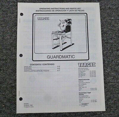 Target C6762 C6753 Guardmatic Masonry Saw Parts Catalog Owner Operator Manual
