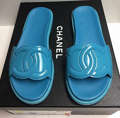 Chanel 17S Turquoise Patent Leather CC Logo Slides Mules Flats Shoes 37.5 NIB