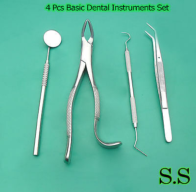 4 Pcs Basic Dental Instruments Set Detnal Veterinary