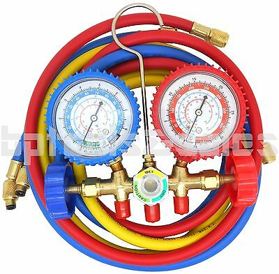 R134a R12 R22 R502 Manifold Gauge Set Hvac Ac Refrigerant W 5ft Charging Hoses
