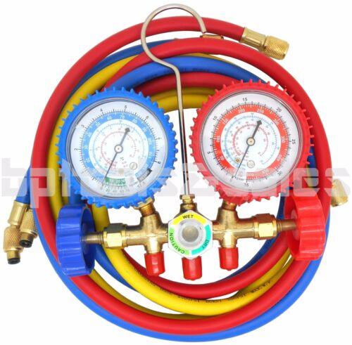 R134a R12 R22 R502 Manifold Gauge Set HVAC AC Refrigerant w/ 5ft Charging Hoses