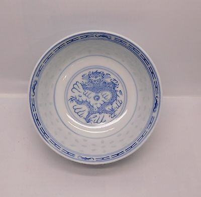 Blue and White Porcelain Rice Eyes with Dragon Rice or Soup Bowl Vintage