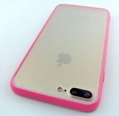 HOT PINK CLEAR BACK HARD GEL HYBRID SKIN CASE COVER APPLE IPHONE 7 PLUS & 8 PLUS Hot Pink Hard Case Cover