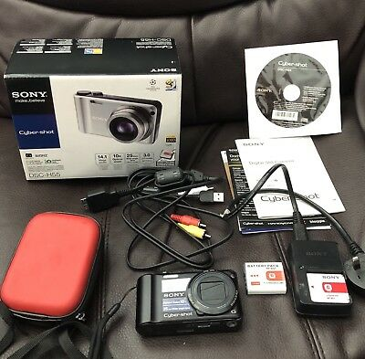 Sony Cyber shot Dsc H55 14.1 Megapixels & 10 Optical Zoom & 2 Batteries Box