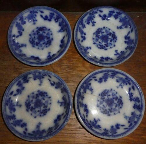 "England flow Blue ""Meissen"" Berry Bowls Lot of 4 PR2"