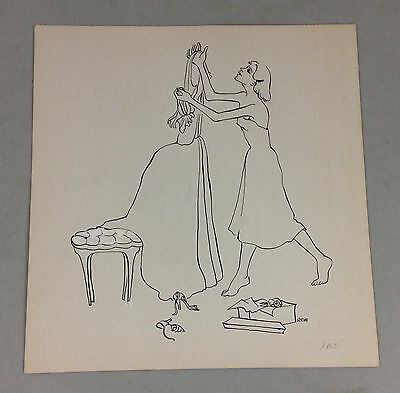 Ruth Euster Berger (1915-1994) YOUNG WOMAN WITH DRESS Illustration Art 1950s