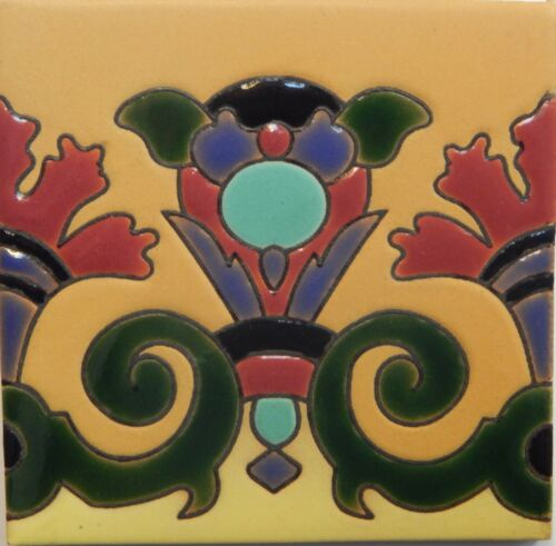 Mexican Tiles High Relief Ceramic Cuerda Seca Malibu Santa Barbara Tiles CS-83
