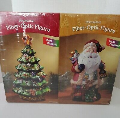 New Fiber Optic Colour Changing Santa and Christmas Tree - Set of 2 - Sealed