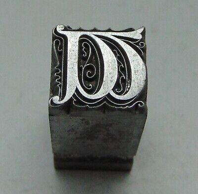 Vintage Printing Letterpress Printers Block Drop Down Fancy Initial Letter W