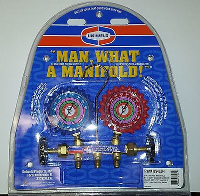 Ac Manifold Gauges Uniweld Brass Body For R410a R22 R404a And 5 Hoses.