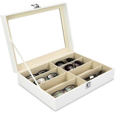 Brillenbox Weiß 8 Brillen Brillenkoffer Sonnenbrillen Case Aufbewahrungsbox