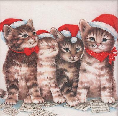 Dekobild Katzen mit Weihnachtsmütze Dekofliese Mitbringsel Geschenkidee