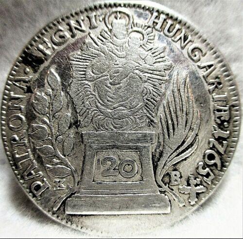 1765-KB HUNGARY 20 Krajczar (Kreuzer) Silver, M. Theresia, VF+ ~ KM# 366