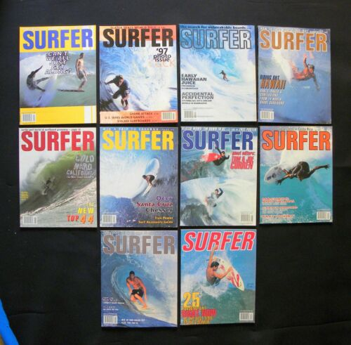 SURFER MAGAZINE 1997 VOL 38  LOT OF 10 ISSUES SURFER LONGBOARDING  HAWAII