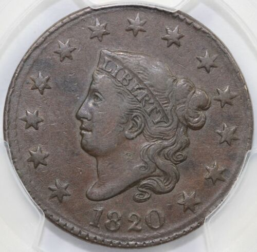 1820 1c N-10 Large Date Coronet or Matron Head Large Cent PCGS XF 40