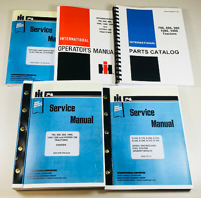 International 886 Tractors Operator Parts Service Manuals D-358 14472 Up Books