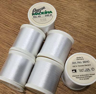 Madeira rayon embroidery thread 6 spools- white (Madeira Embroidery Thread)