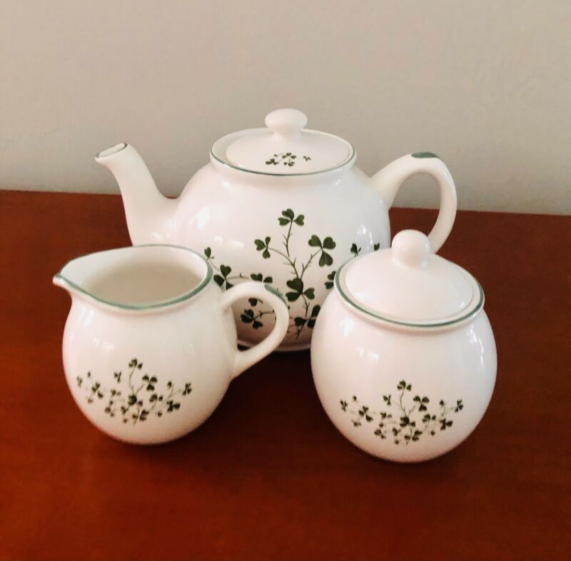Vintage Bewley Irish Imports Exclusive Design Pottery Sugar Bowl Creamer Teapot