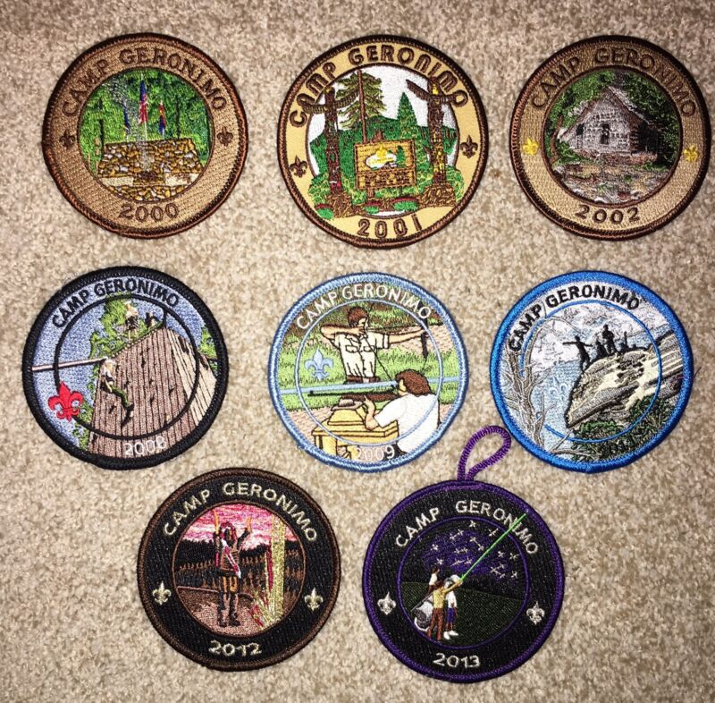 BOY SCOUT CAMP GERONIMO GRAND CANYON COUNCIL 8 DIFFERENT PATCHES 2000 - 2013