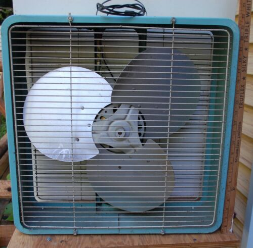 "Vintage ESKIMO Two Speed Box Fan Model 20137 Turquoise 21""x21""x6"" -  ORIGINAL"