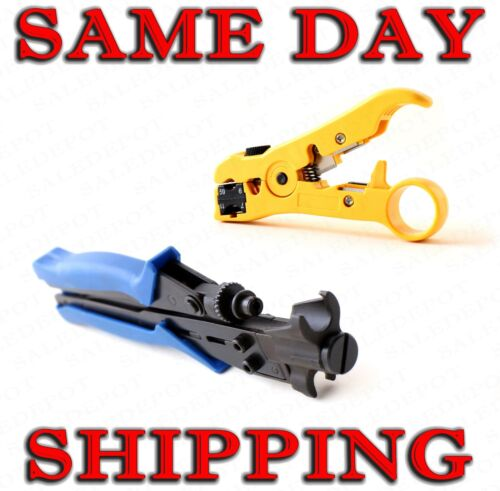 Coaxial Cable Stripping & Compression Tool for RG6 RG11 RG59 RG7 / Strip + Crimp