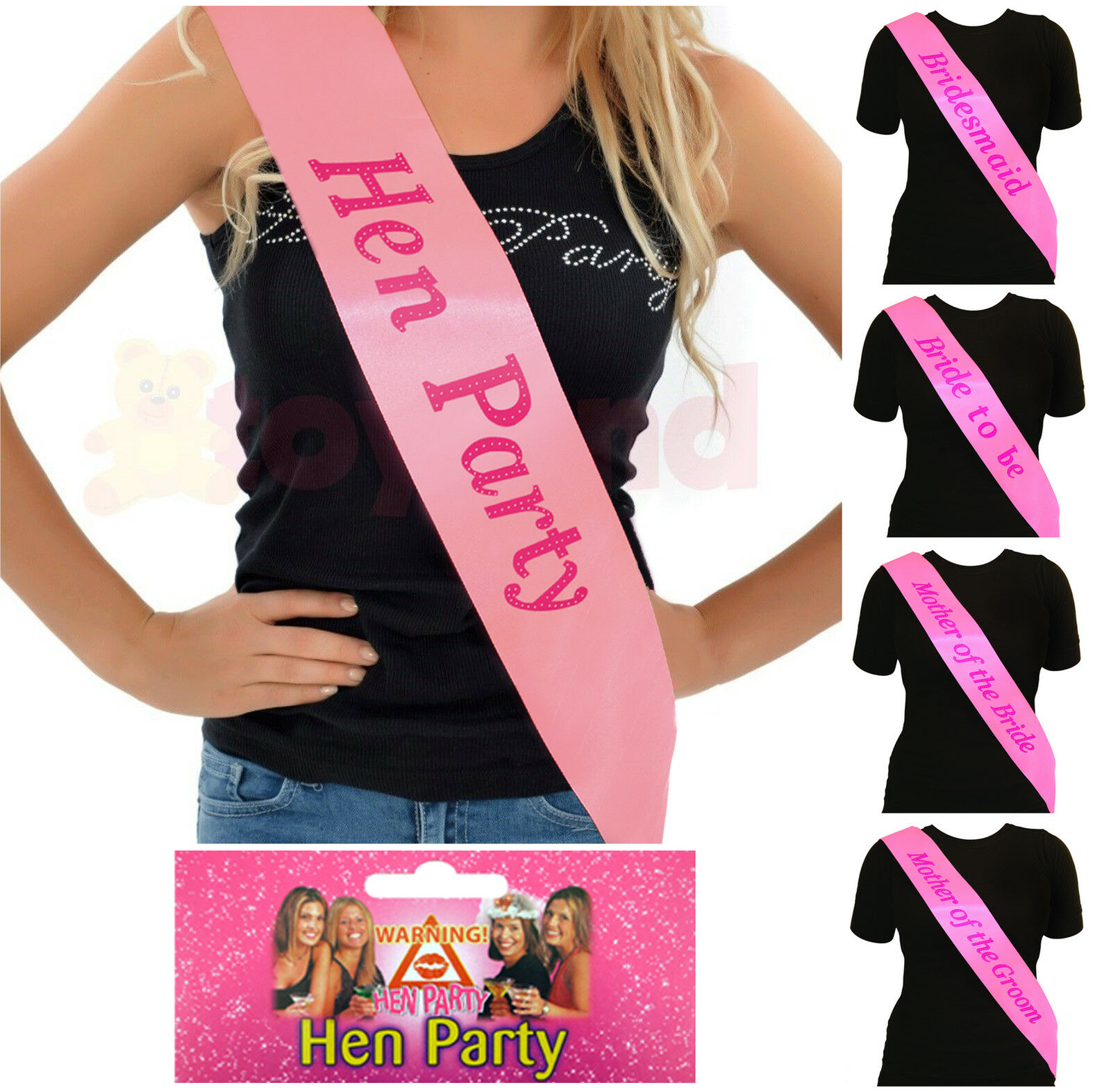 PINK HEN PARTY SASH SASHES GIRLS DO NIGHT OUT ACCESSORIES