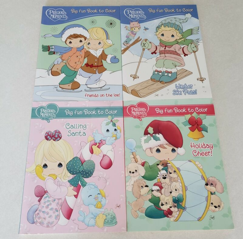 Set of 4 Precious Moments Holiday & Winter Themed Coloring Books