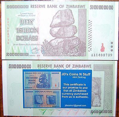 ZIMBABWE 50 TRILLION   COA INCLUDED   CIRCULATED   2008 AA   100% AUTHENTIC