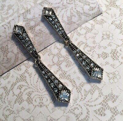 Art Deco Style Rhinestone Earrings - New - Vintage Reproduction - Wedding - Prom Art Deco Rhinestone Earrings