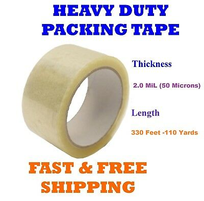 2.0 Mil Clear Packing Tape Carton Box Sealing Moving Shipping 330 Ft 110 Yards