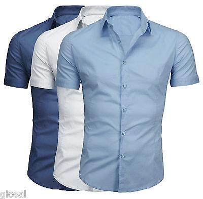 Camicia Uomo Slim Tinta Unita Mezza Manica Casual Maniche Corte M L XL XXLGIOSAL