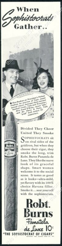 1938 Princeton University Palmer Stadium photo Robt Burns cigar vintage print ad