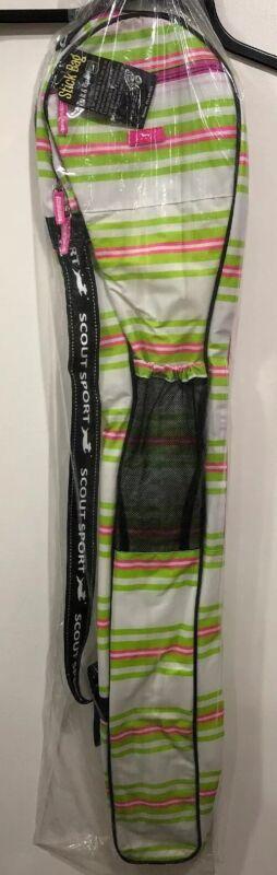 Scout Sport Zip It & Rip It Lacrosse Stick Carry Equipment Bag Pink & Kiwi Green