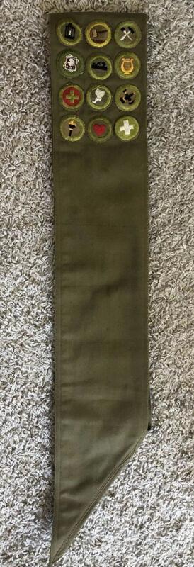 1940s Boy Scouts Sash w/ 2 Rank, 12 Merit & 3 Quincy Council Camporee Patches