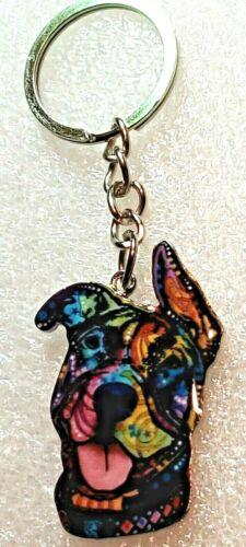 Pitbull Pitty Dog Happy Multicolor Keychain Enamel Alloy Jewelry