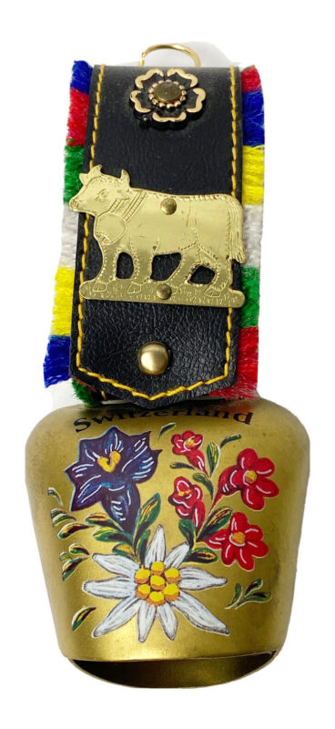 Vintage Swiss Brass Bell Fringed Strap Cow 5 Inch Painted Flower 1997 Souvenir