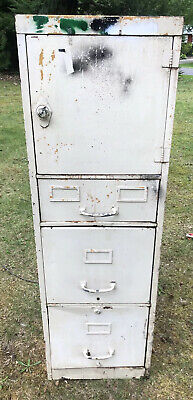 Vintage Industrial Metal File Cabinet Locker Dial Lock 3 Drawer Stand