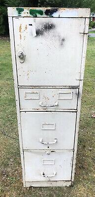 Vintage Industrial Metal File Cabinet Locker Dial Lock 3 Drawer Stand