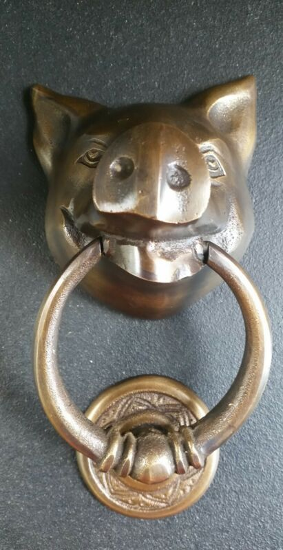 "Unique PIG HEAD Door Knocker Solid Tarnished Brass 6"" long #D4"