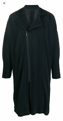 Issey Miyake Homme Plissé Black Pleated Zipped Coat - Fits US Small / Medium
