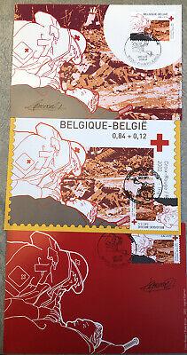 Belgique België, 2002, 3 Souvenirs Philatélique, Croix-Rouge, Neuf, Très Bien