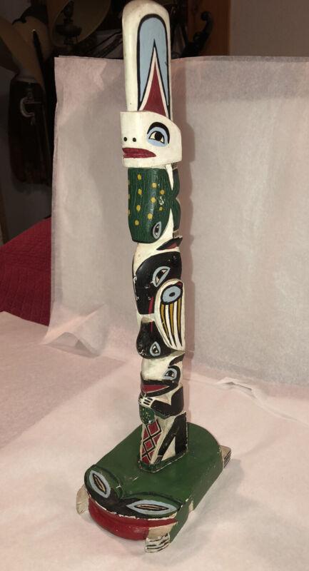 """Tlingit Frog Totem Pole Wrangell Alaska Northwest Coast Painted Wood 17"""" Tall"""