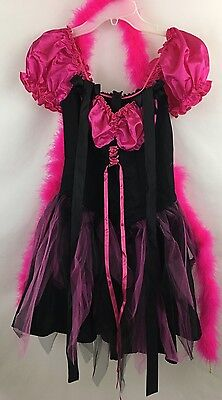 Costume Adult Women Witch Sz Med Lace Up Med Hot Pink Black Witches Hat Boa