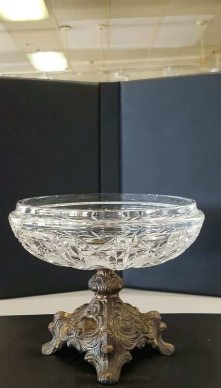 Vintage Compote Candy Dish with Crystal Cut Glass & Brass Pedestal Base