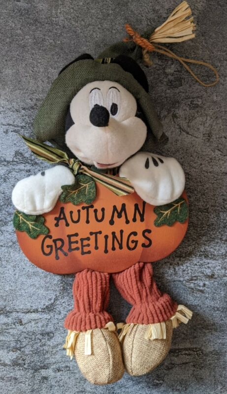 Mickey Mouse fall harvest decor scarecrow Thanksgiving greeter Disney Door Wall