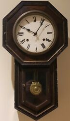 Antique 1920's Seikosha Art Deco Octagon Drop School House Regulator Wall Clock