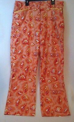 Holly Lane Ladies Pants Size 10 Seashell Print Peach Orange Colorful Beach Shell Holly Lane