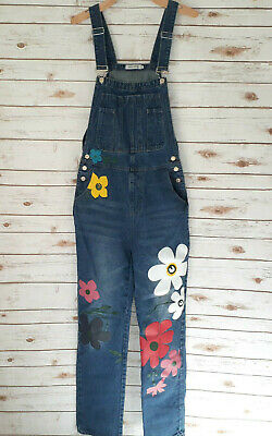Vintage Overalls & Jumpsuits Painted Floral Denim Overalls Size L Flower Power Summer Festival Boho Misslook $13.56 AT vintagedancer.com